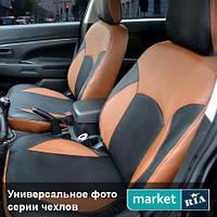 Чехлы для Ford C-Max, Коричневый + Черный цвет, Экокожа