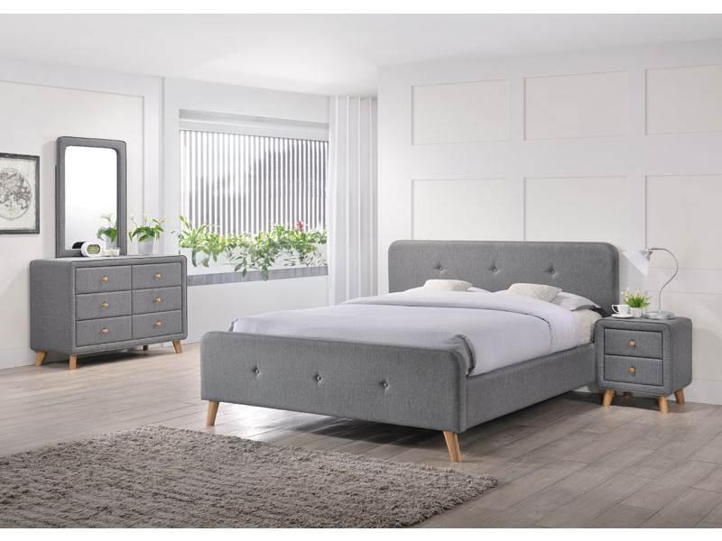 Современная полуторная кровать серая ткан Signal Malmo 140х200см на деревянных ножках в скандинавском стиле