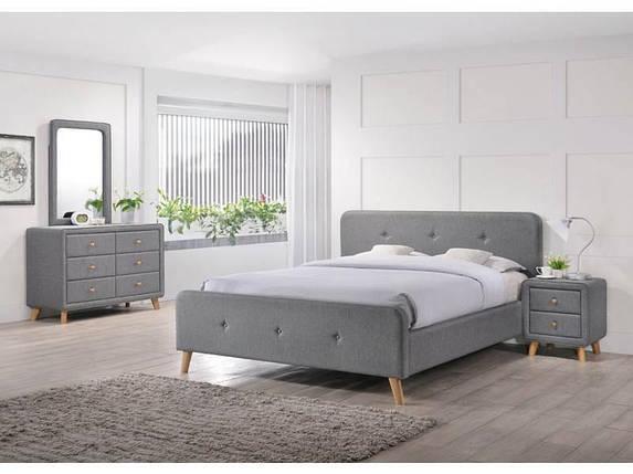 Современная полуторная кровать серая ткан Signal Malmo 140х200см на деревянных ножках в скандинавском стиле, фото 2