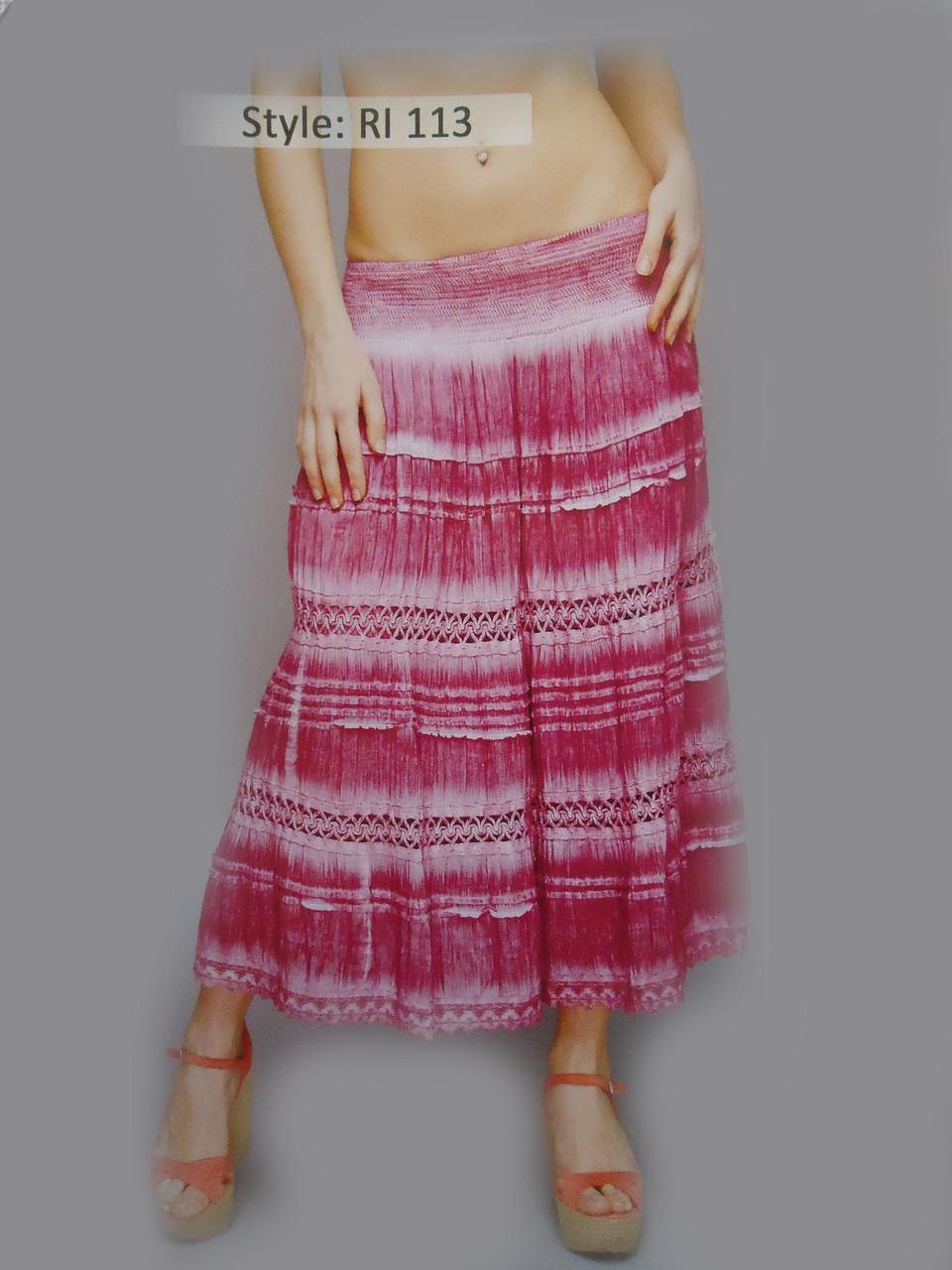Юбка длинная с шитьем разных цветов и разных размеров