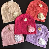 Детская шапка ажурный трикотаж для модных девочек