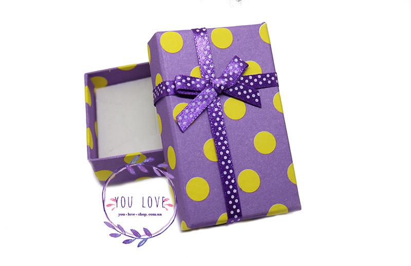 Коробочка подарочная для бижутерии Веселая Сиреневая в желтый горошек