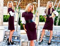 """Элегантное женское платье офисный стиль """"Креп Рукава Софт Корсет"""" в расцветках (07-1057 )"""