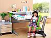 Комплект стол KD-333 NEW  ТИК зеленые вставки на ногах+стул KУ-518 Comf-Pro +лампа LC1
