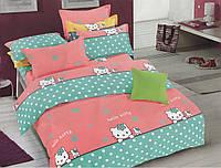 Подростковый полуторный комплект постельного белья, сатин, Hello Kitty