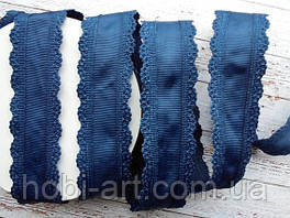 Стрічка репсова 35мм  з ажурним кантом №08 темно синя