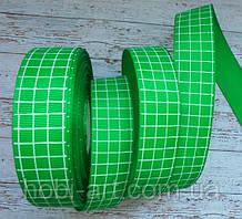 Стрічка репсова 25мм кліточка №04 зелена