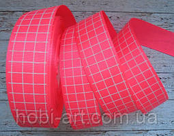 Стрічка репсова 25мм кліточка №08 рожева