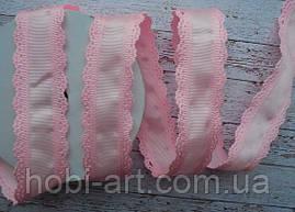 Стрічка репсова 35мм  з ажурним кантом №05 рожева