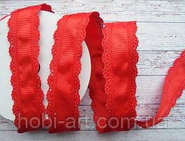 Стрічка репсова 35мм  з ажурним кантом №02 червона