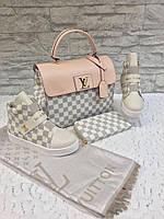 Набор: сумка, кошелек, обувь LV беж