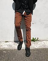 Мужские брюки коттоновые коричневого цвета