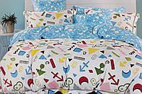 Подростковый полуторный комплект постельного белья, сатин, Blue White