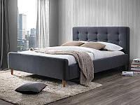 Двуспальная кровать Signal Pinko 160x200 серая ткань с деревянным каркасом и ортопедическим основанием