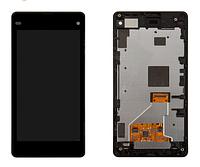 Дисплей Sony D5503 сони Xperia Z1 Compact, D5502 с тачскрином и передней панелью в сборе, цвет черный