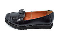 Женские  Кожаные туфли Балетки MILLI Gold 301 Black