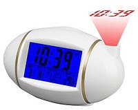 Часы настольные с проектором 815, с будильником, говорящие часы, звуковая активация подсветки и проектора