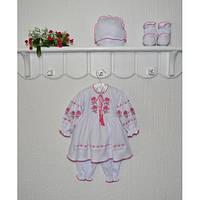 Ясельный комплект вышиванка с платьем Розочка Размер 62 - 68 см