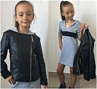 """Куртка """"Косуха"""" для девочки черная,р.9-11 лет"""