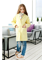 Кашемировое пальто для девочки,р.10-13 лет(желтый)