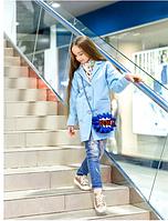 Кашемировое пальто для девочки,р.10-13 лет(голубой)