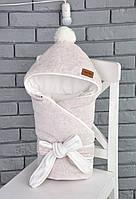 Велюровый конверт-одеяло, на трикотаже, бежевый меланж