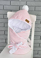 Велюровый конверт-одеяло, на трикотаже, розовый меланж