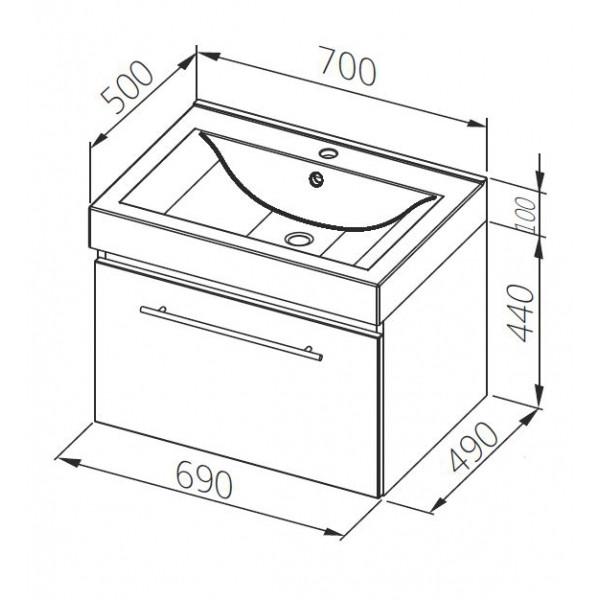 aquaform Тумба для раковины Aquaform Decora 70 см 0401-542811