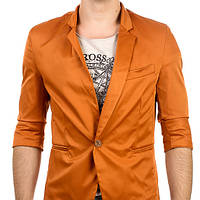Летний мужской пиджак рукав 3/4 кирпичного цвета