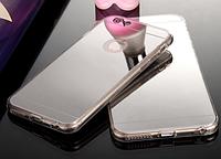 Силиконовый чехол бампер для iPhone 5 5S серебристый