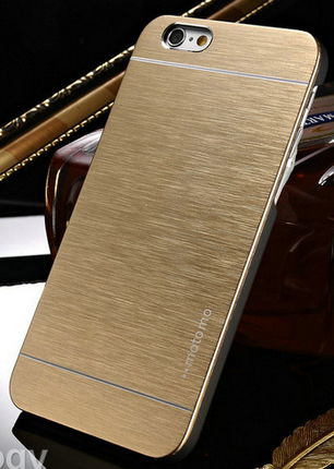 Чехол бампер Motomo для iphone 6 6S золотистый, фото 2