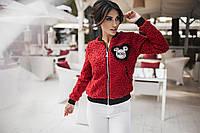 Куртка - бомбер, женская. Красная, 6 цветов. Р-ры: S, M, L.