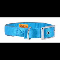 Ошейник COLLAR Dog Extremе двойной нейлоновый со светоотражающей вставкой 20мм/30-40см, 67032, голубой