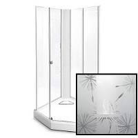 Модель 8-5 (100*100см), передние стенки и дверь художественное стекло Dandelion II, белая фронтальная панель