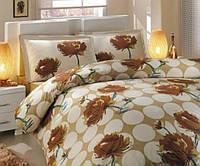 Комплект постельного белья HOBBY ранфорс Leona двуспальный - евро, коричневый