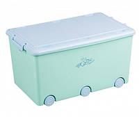 Ящик для игрушек Tega KR-010 mint/blue ЗАЙЦЫ бирюзовый с синей крышкой