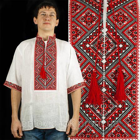 Вышиванка мужская с коротким  рукавом - льон, фото 2