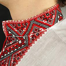 Вышиванка мужская с коротким  рукавом - льон, фото 3