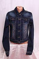 Женский джинсовый пиджак со стразами