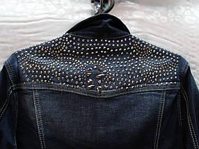 Женский джинсовый пиджак со стразами, фото 3