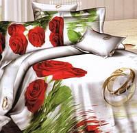 Постельное белье комплект Love You сатин Свадьба полуторный