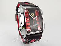 Мужские  часы  FERRARI - GT красные, механика с автозаводом, цвет корпуса серебро