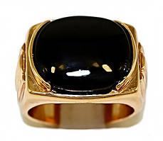 Печатка фирмы Xuping. Цвет: позолота. Камни: чёрный агат. Ширина: 15 мм. Есть 18 р. 19 р.