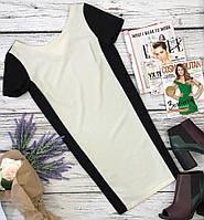 Утонченное платье прямого фасона с контрастными вставками  DR35113