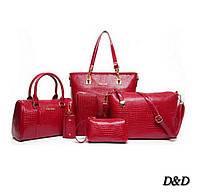 Набор женских сумок 6в1 красные, фото 1