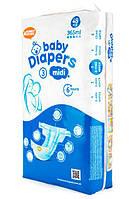 Подгузники Bаby Diapers размер №3 Midi 48 шт 6-11 кг 365 мл , фото 1