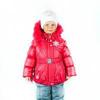 Зимний комбинезон для девочки штаны и куртка красный