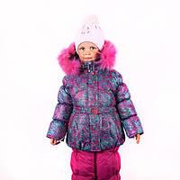 Зимний комбинезон для девочки штаны и куртка розовый