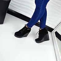 Женские демисезонные ботинки на танкетке черного цвета замш, 36-40р.
