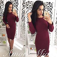 Платье модное облегающее миди трикотаж ангора разные цвета SML1712